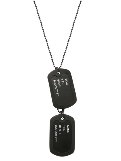 Black Two Dog Tags For Men ID Pendant