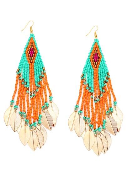 Colorful Beaded Leaf Metal Sheet Fringe Earrings