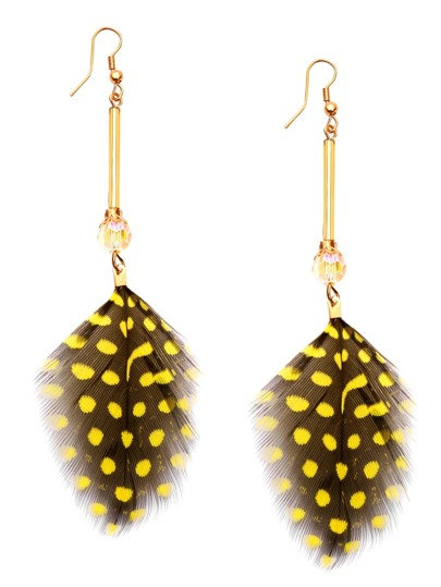 Yellow Crystal Feather Earrings