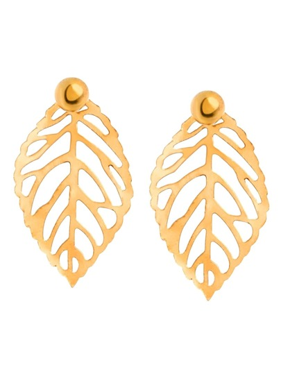 Champagne Leaf Metal Sheet Earrings