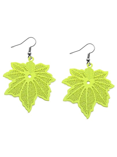 Fluorescent Color Maple Leaf Earrings