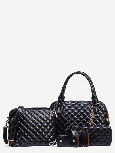 Black Faux Leather Quilted 5PCS Bag Set