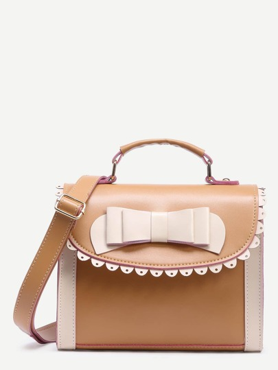 Khaki Color Block Bow Crossbody Bag