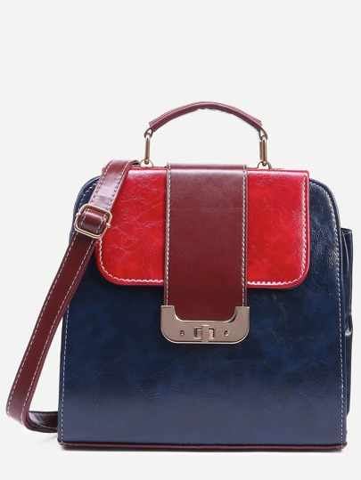 Color Block Backpack With Lock Detail