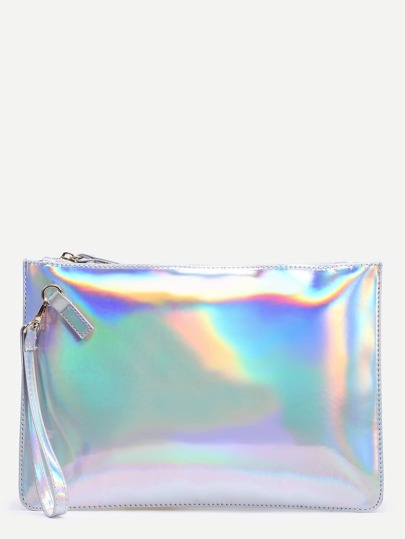 White Glitter Clutch Bag