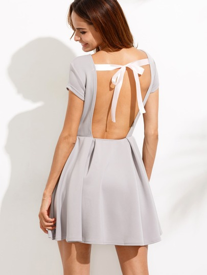 Grey Open Back Bow Tie Flare Dress