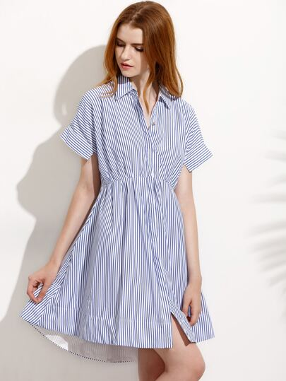 Blue Striped Elastic Waist Dip Hem Shirt Dress