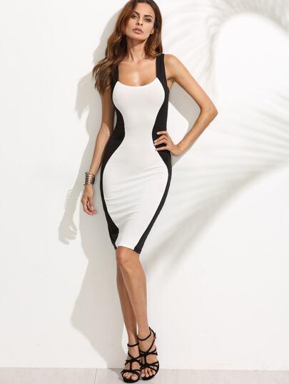 Black White Colorblock Lace Up Pencil Dress