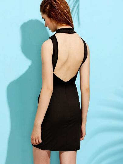 Black Open Back Sleeveless Dress
