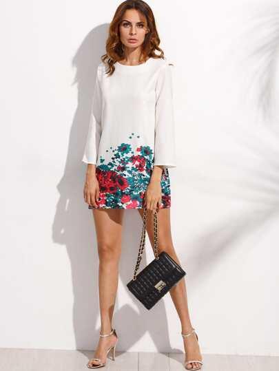 Vestido floral manga larga holgado - blanco