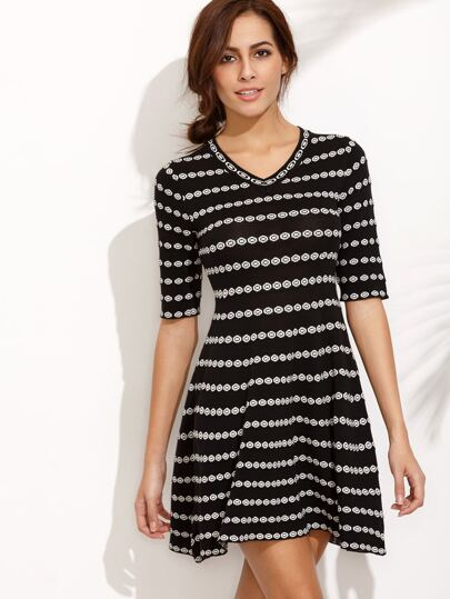 Black V Neck Elbow Sleeve Print A-Line Dress