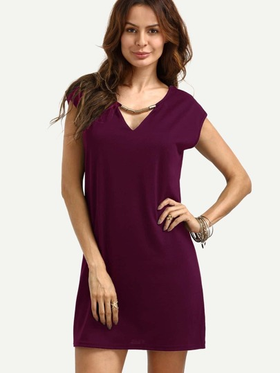 Burgandy V Neck Shift Dress