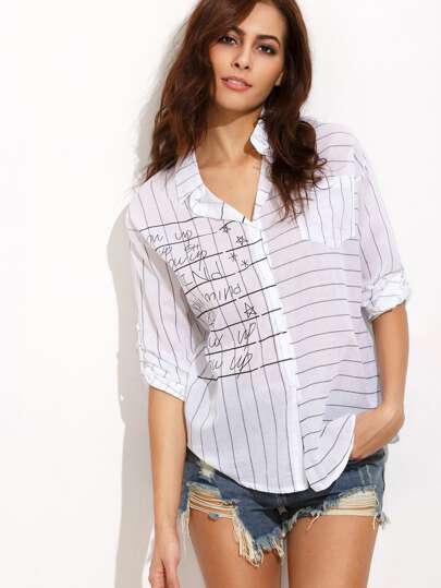 Striped Letters Print Shirt With Pocket