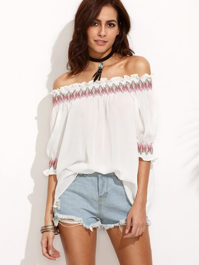 Off The Shoulder Embroidered Blouse
