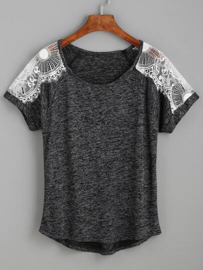 Heather Grey Contrast Lace Raglan Sleeve T-shirt