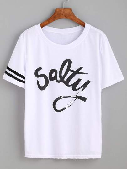 White Striped Trim Letters Print T-shirt