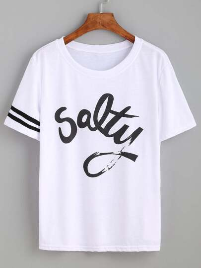 Striped Trim Sleeve Letters Print Tee