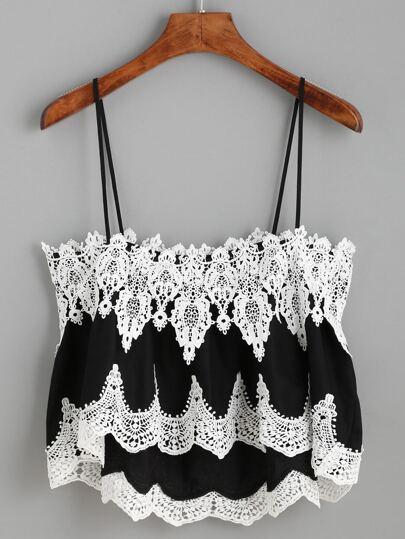Contrast Crochet Cami Top