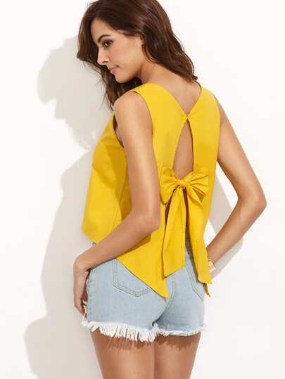 Yellow V Neck Bow Split Back Tank top