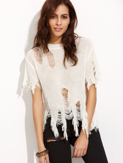 White Fringe Ripped Sweater