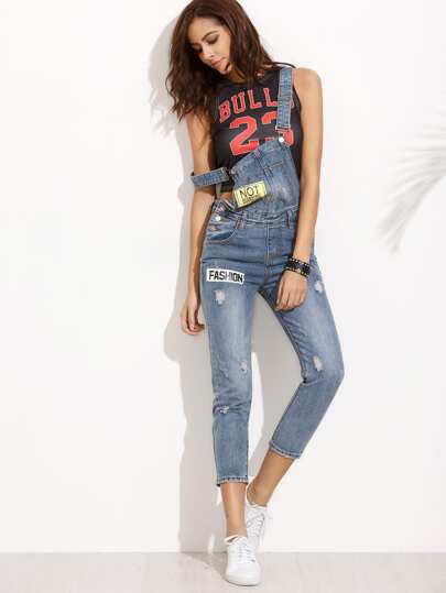Bleach Wash Distressed Letter Print Denim Dungarees