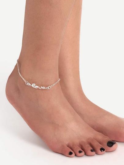 Sliver Love Letter Anklet Chain