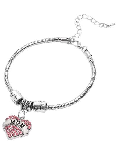 Pink Heart Rhinestone MOM Lettering Pendant