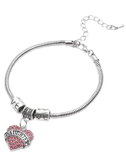 Pink Heart Rhinestone DAUGHTER Lettering Pendant