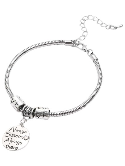 Silver Round Metal Sheets Sentence Lettering Pendant