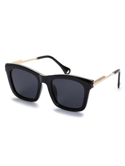 Black Retro Reflective Square Sunglasses