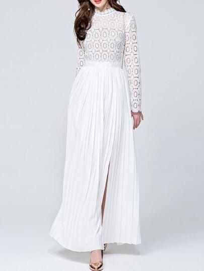 White Crochet Hollow Out Pleated Split Dress