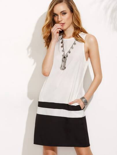Black and White Pocket Sleeveless Dress