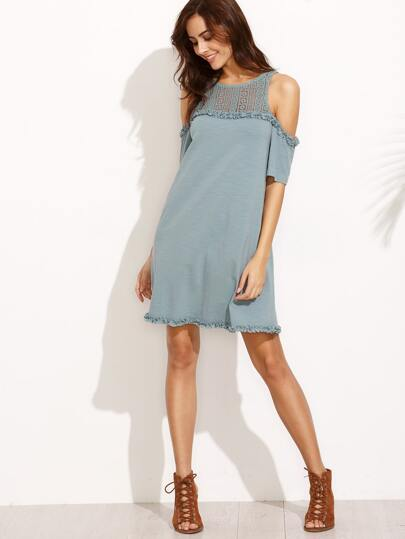 Hollow Keyhole Back Cold Shoulder Shift Dress