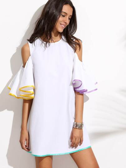 White Ruffle Sleeve Cold Shoulder Dress