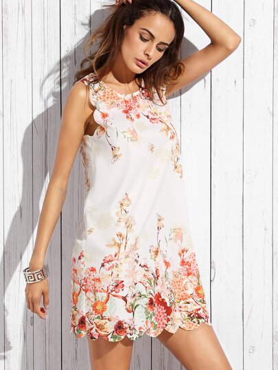 Multicolor Floral Scallop Trim Sleeveless Dress