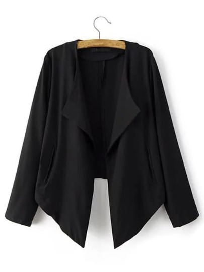 Black Asymmetric Pocket Blazer