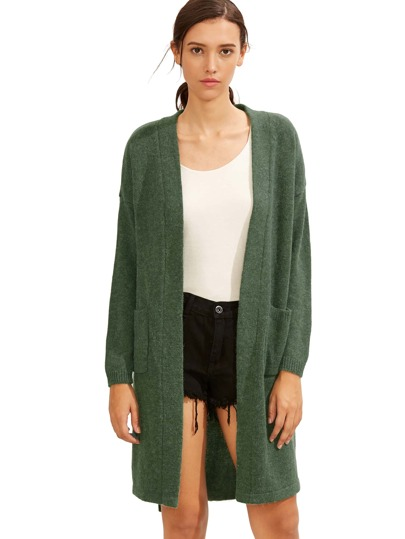 Green Pocket High Low Cardigan