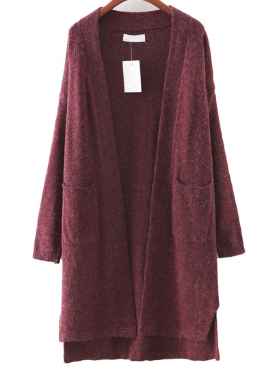 Burgundy Pocket Dipped Hem Cardigan