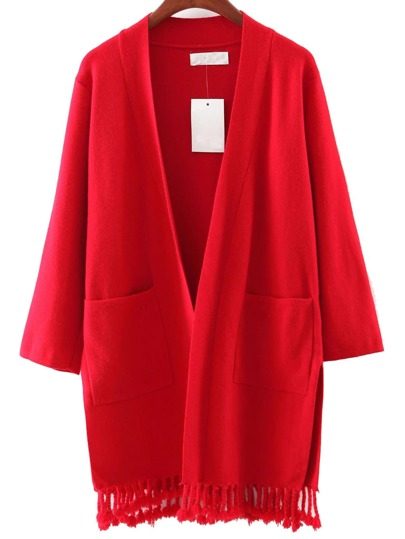 Red Pocket Tassel Cardigan