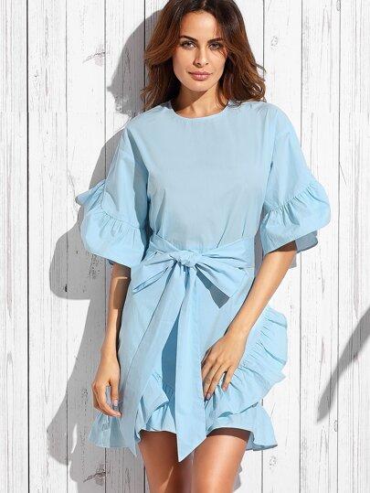 Blue Bow Ruffle Half Sleeve Dress