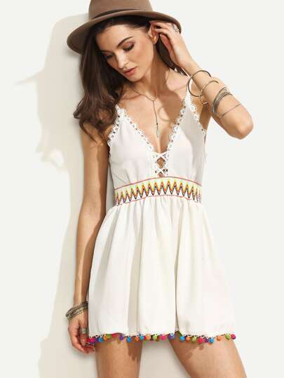 White Pompom Hem Backless Spaghetti Strap Dress