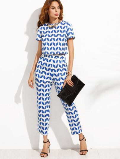 Top estampado manga corta con pantalones - azul