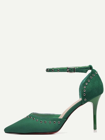 Green Pointed Toe Ankle Strap Pumps