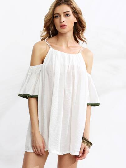 White Cold Shoulder Contrast Trim Dress
