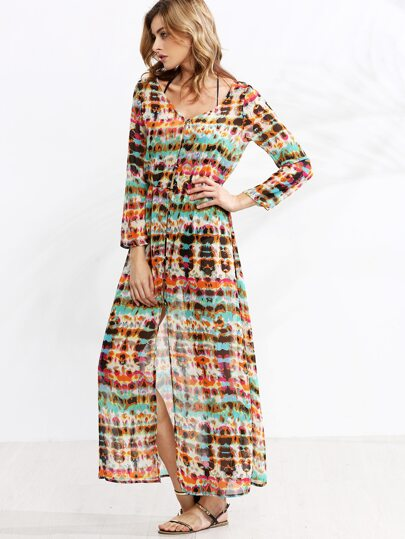 Multicolor Tie Dye V Neck Shirt Dress