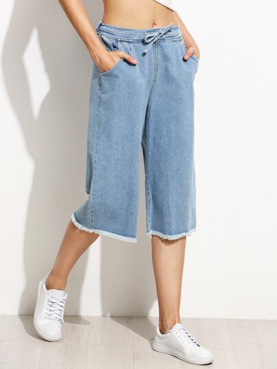 Blue Drawstring Waist Frayed Wide Leg Jeans