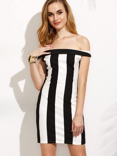 Black White Vertical Striped Off The Shoulder Fold Over Zipper Dress