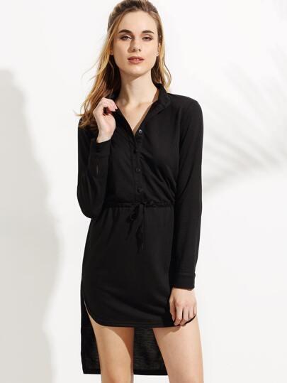 Black Drawstring Waist Dip Hem Shirt Dress