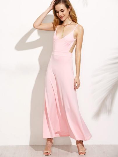 Pink Deep V Neck Open Back Maxi Dress