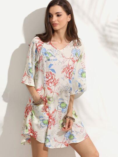 Ivory Floral Print Half Sleeve Keyhole Back Pockets Dress